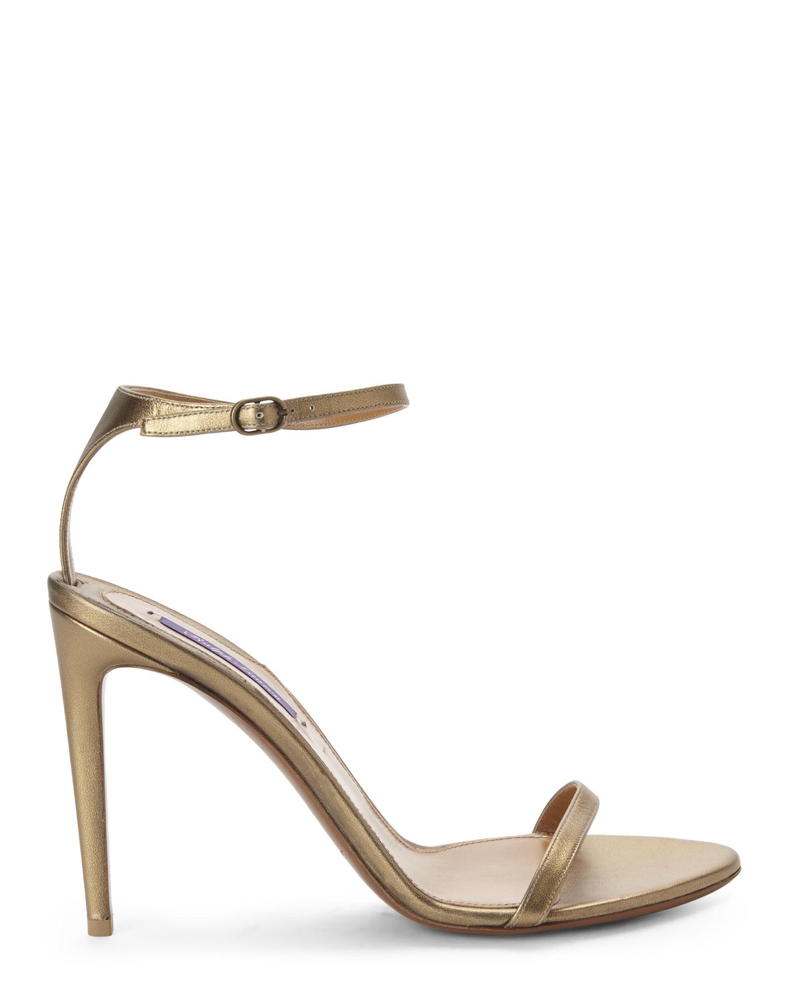 83fcb3f55a3 Lyst - Ralph Lauren Blasia Two-Piece Heeled Sandals in Metallic