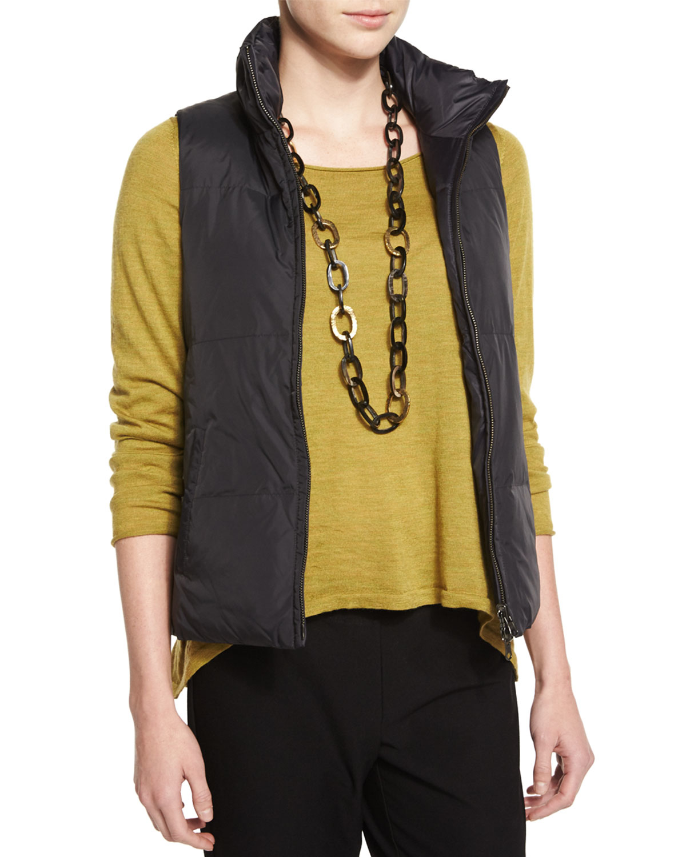 Eileen Fisher Puffer Reversible Vest In Black Lyst