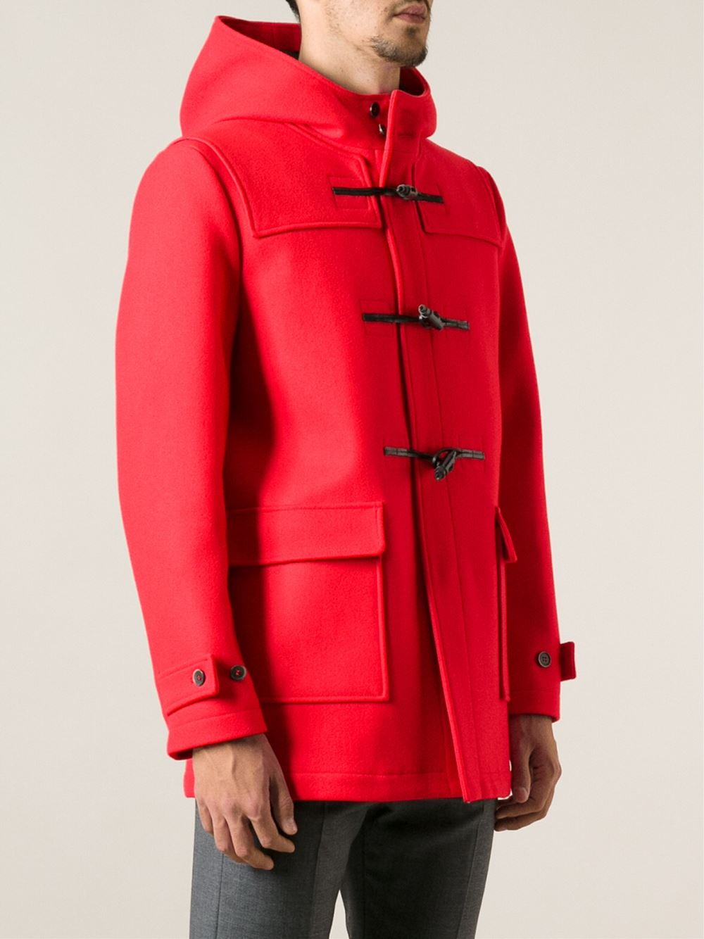 Msgm Classic Duffle Coat in Red for Men | Lyst