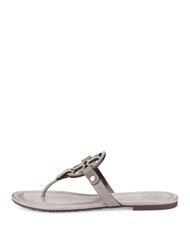 263ee2d8f Lyst - Tory Burch Miller Logo Flat Sandal in Gray
