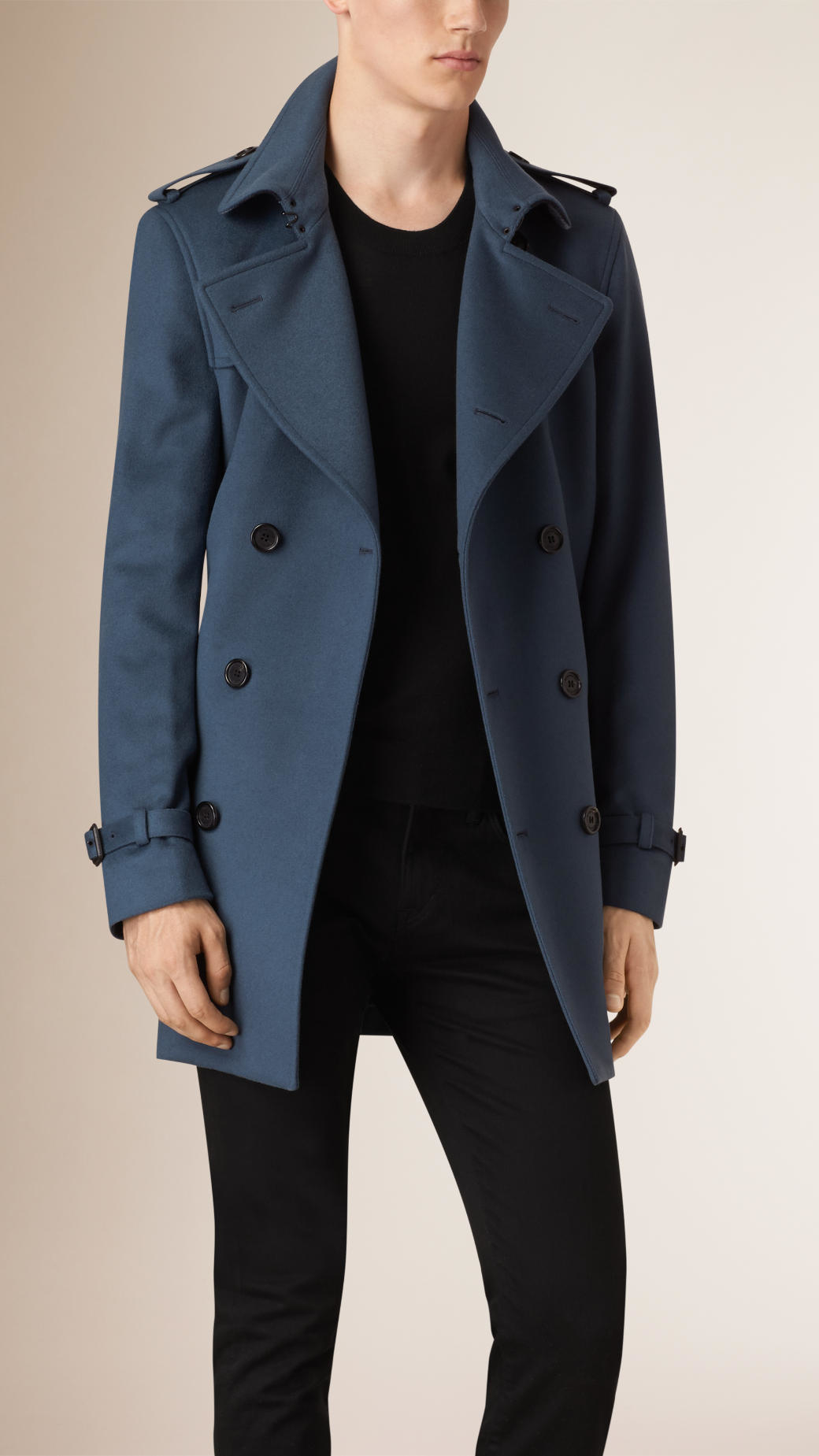 Lyst Burberry Wool Cashmere Trench Coat In Blue For Men