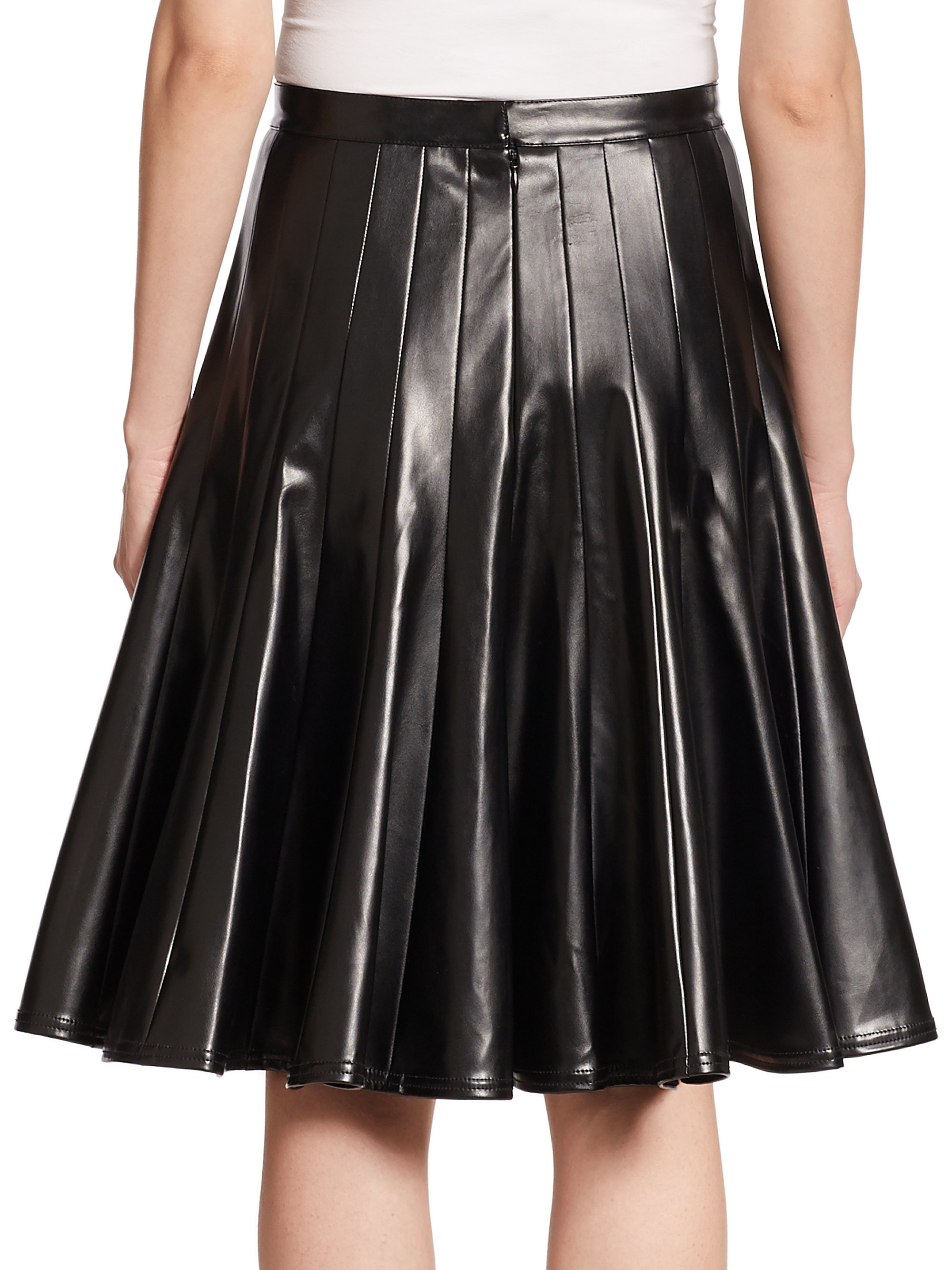 Faux Leather Skirts Styles Found The faux leather skirt is a timeless piece that goes with everything, looks good always and can be dressed up or down with a swift change of top and shoes.