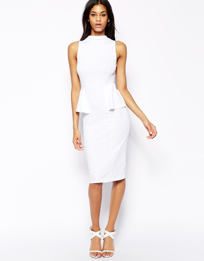 Asos Midi Pencil Dress With High Neck And Peplum in White | Lyst