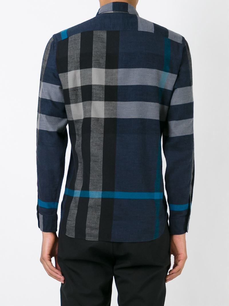 Lyst burberry brit plaid shirt in blue for men for Burberry brit plaid shirt