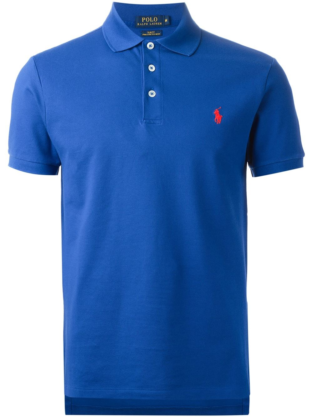 Polo ralph lauren embroidered logo polo shirt in blue for for Polo shirts with embroidery