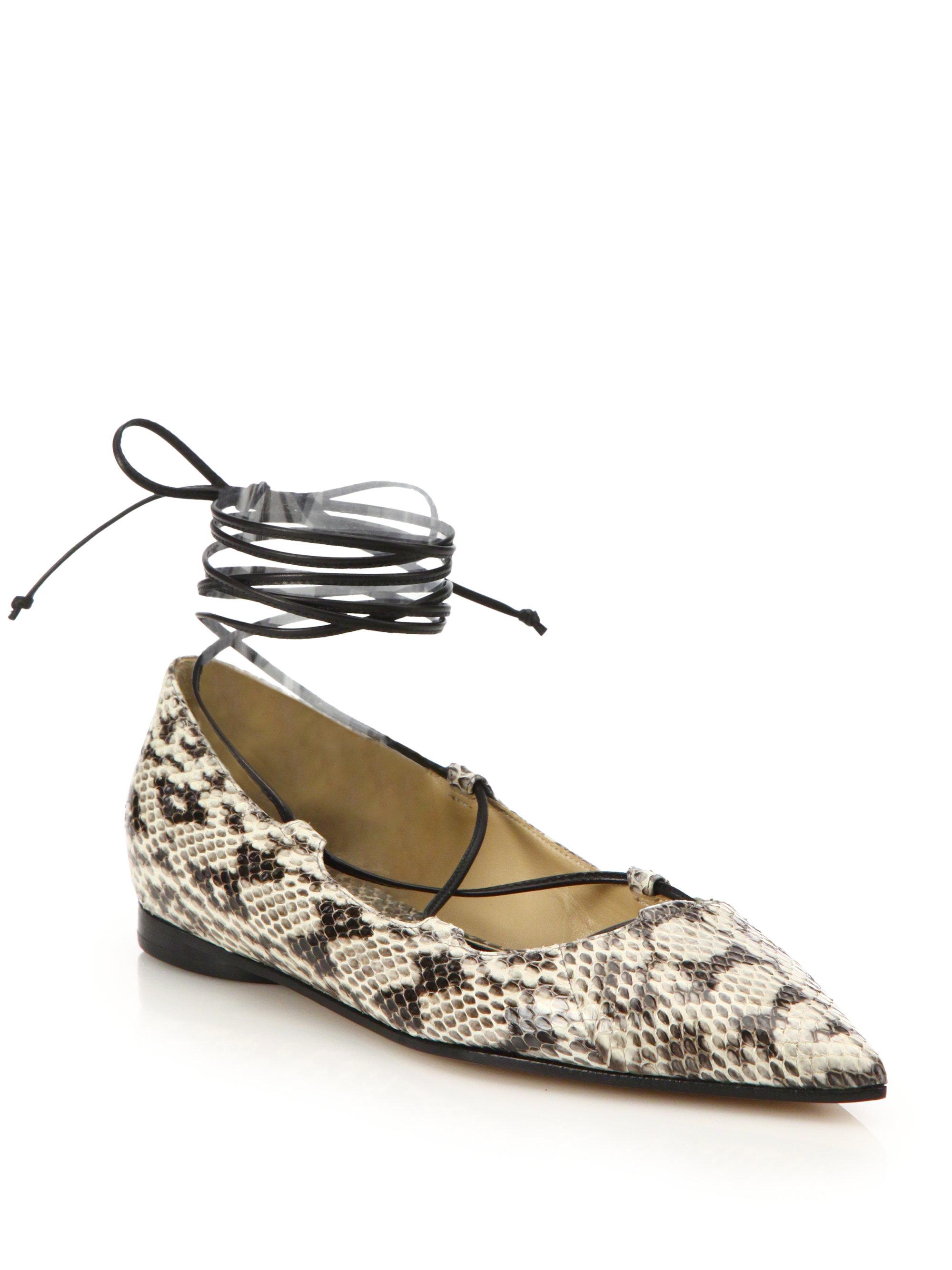 Lyst Michael Kors Kallie Snakeskin Amp Leather Ankle Wrap
