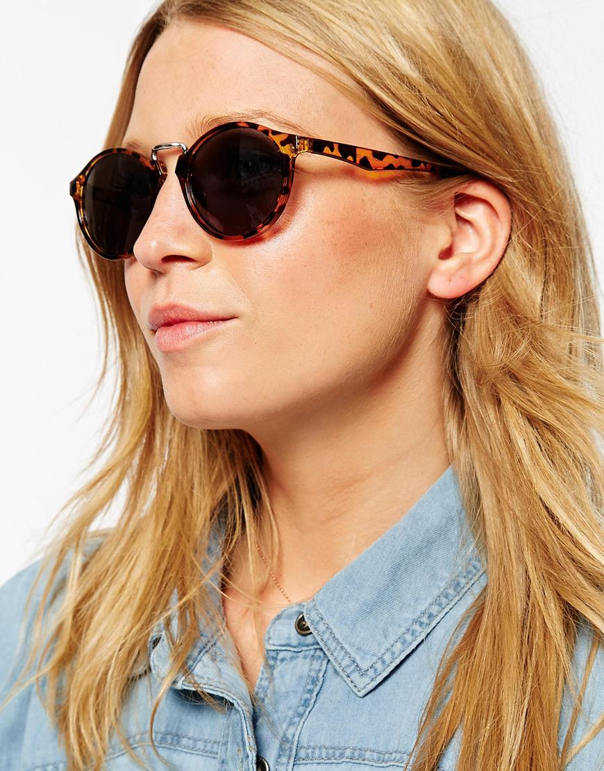 Asos Fine Frame Round Sunglasses With High Nose Bridge In -5995
