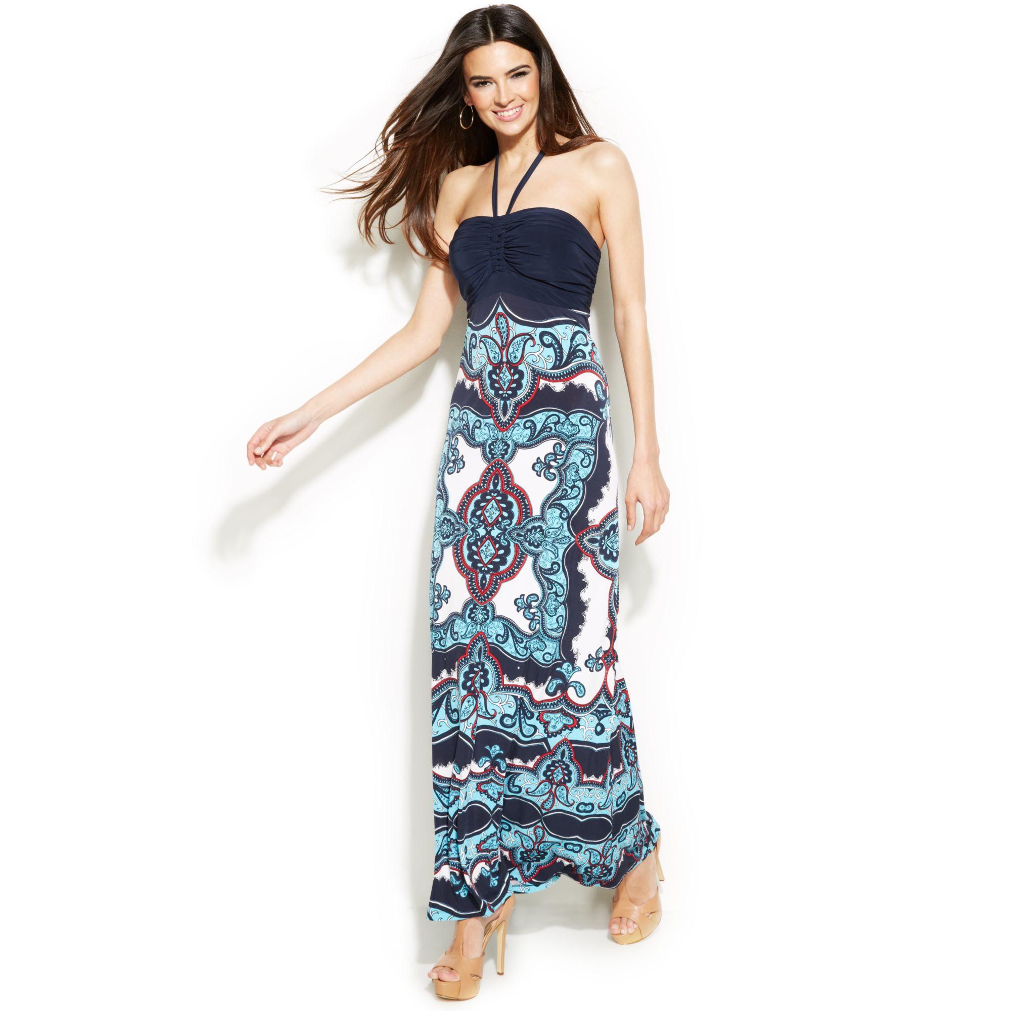 Inc international concepts Embellished Printed Halter Maxi Dress ...