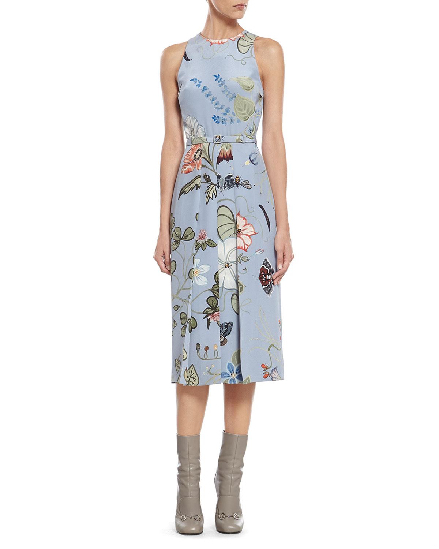 9e85bd1822 Gucci Floral Knight-Print Silk-Cady Dress in Blue - Lyst