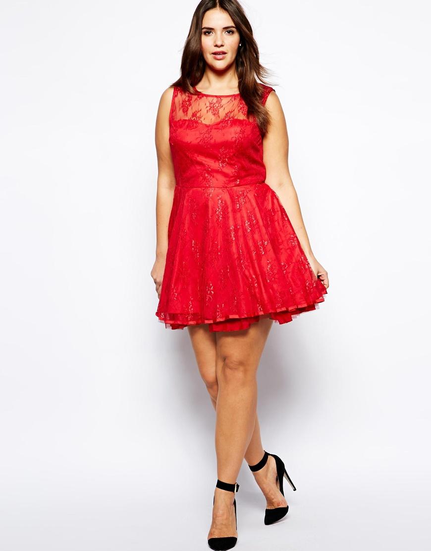 AX Paris Red Plus Size Lace Skater Dress