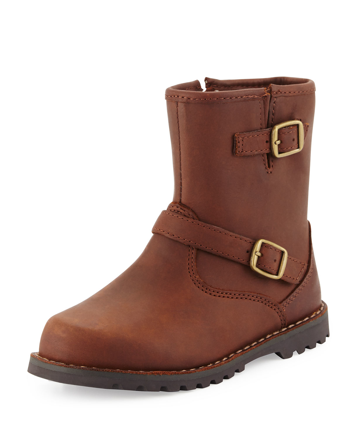ugg harwell leather buckle trim boot in brown lyst