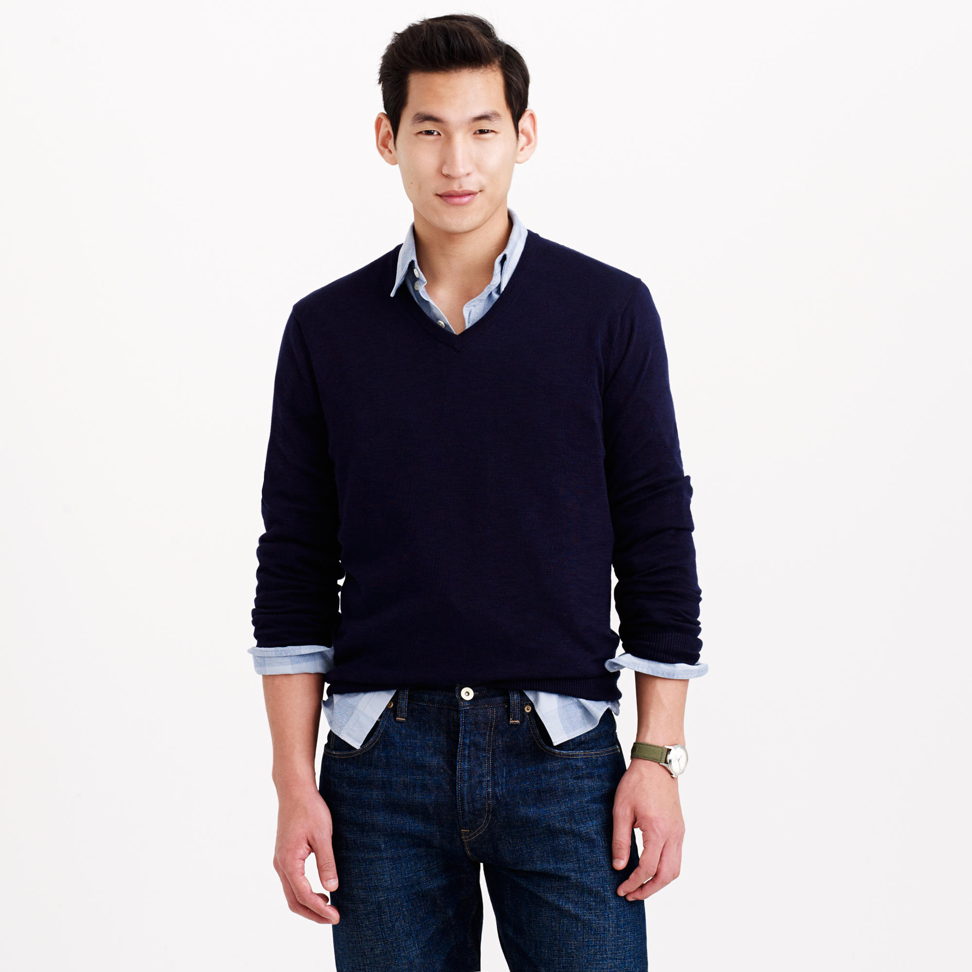 Slim rugged cotton v neck sweater in blue for men for J crew mens outfits