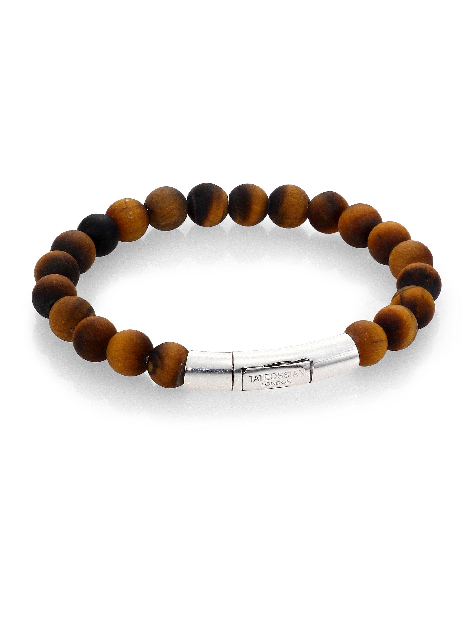 Lyst Tateossian Tiger S Eye Beaded Bracelet In Brown For Men