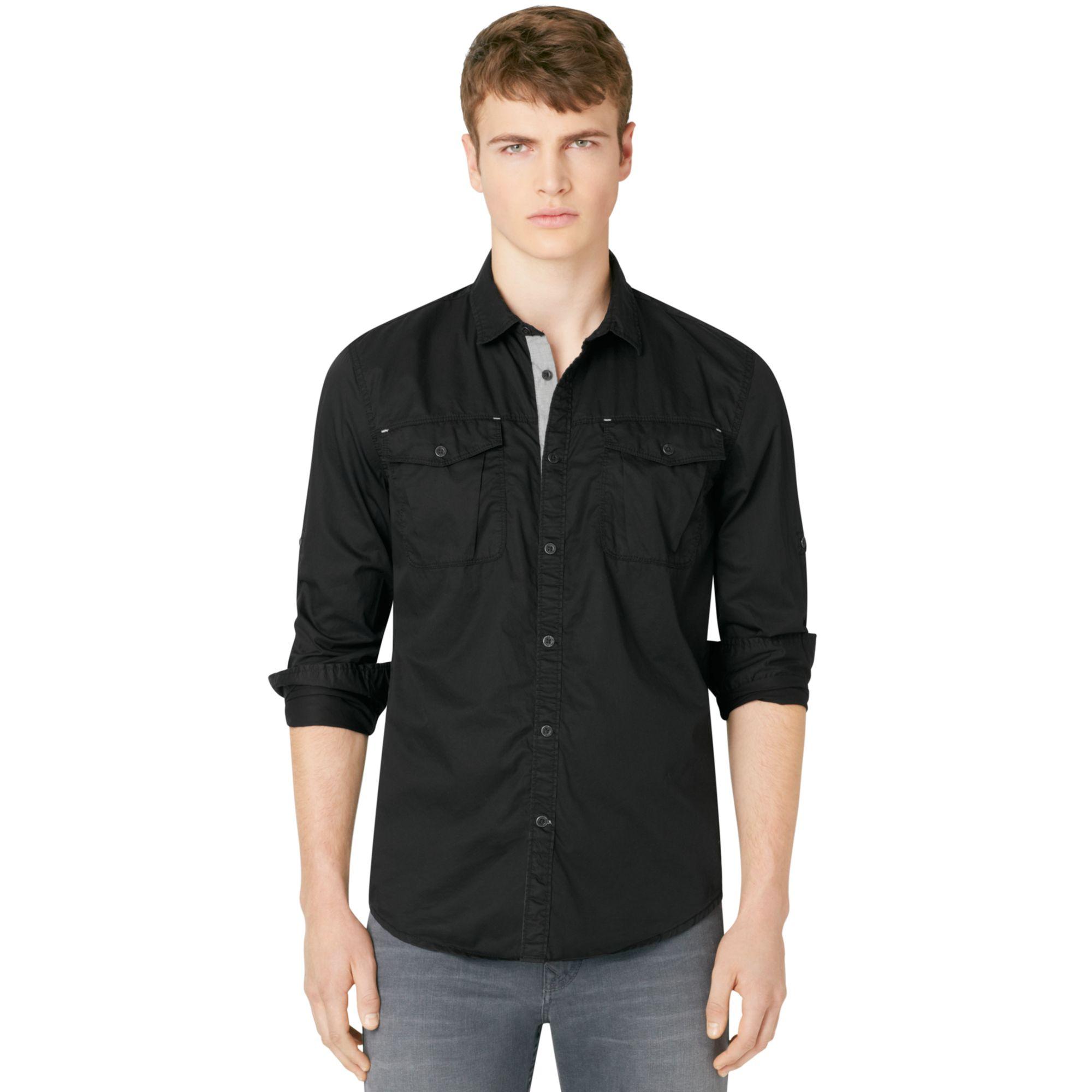 calvin klein jeans buttondown shirt in black for men lyst. Black Bedroom Furniture Sets. Home Design Ideas