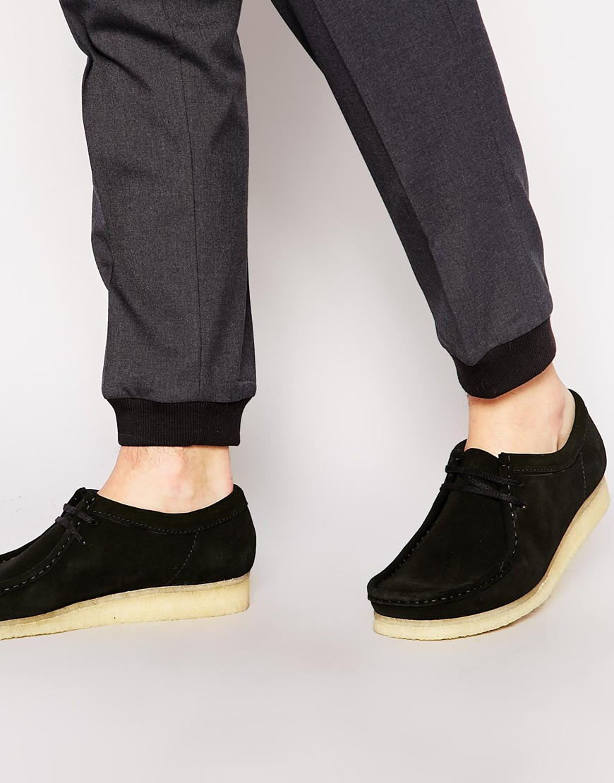 Clarks Suede Wallabee Shoes In Black For Men Lyst