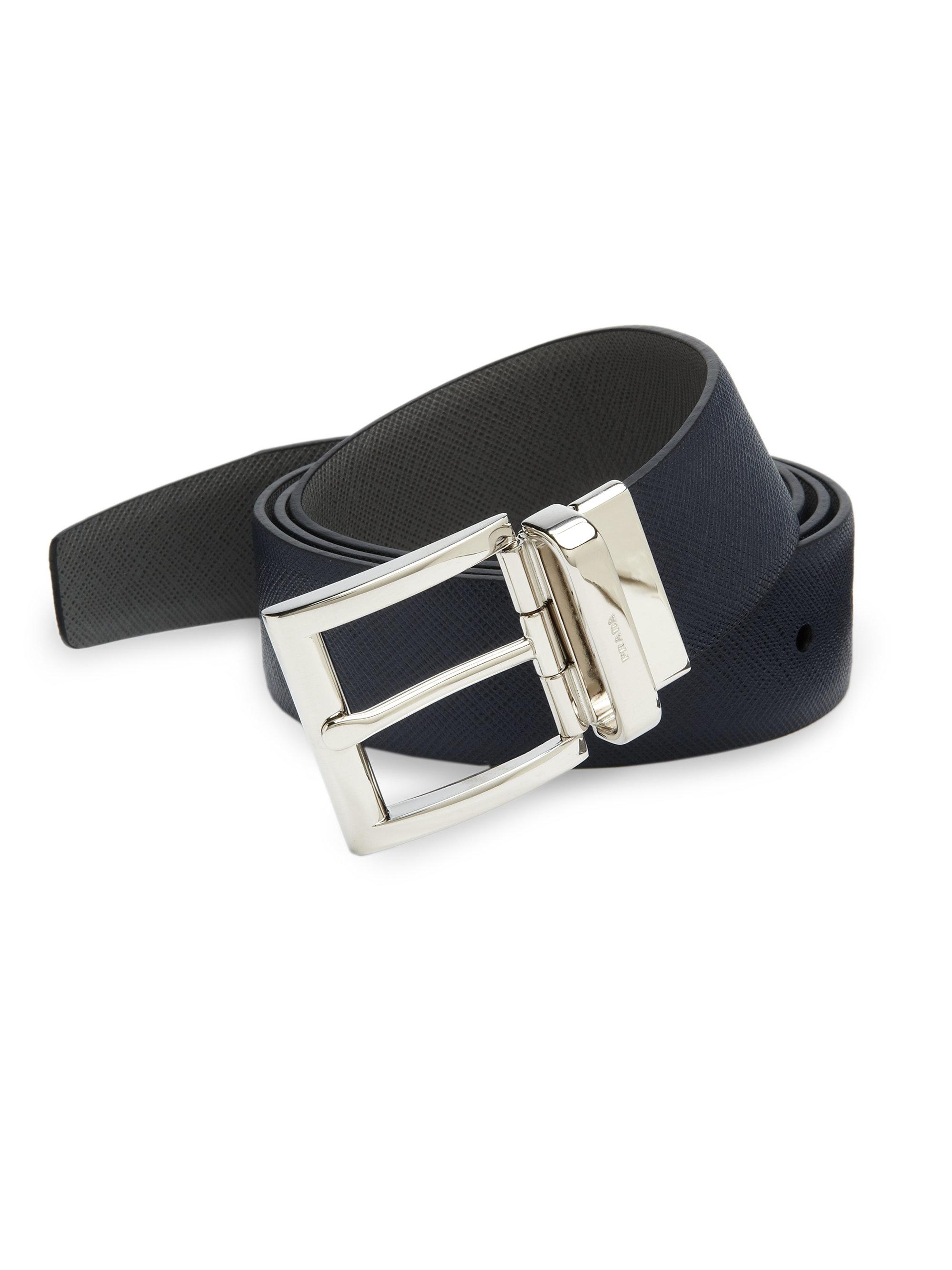 Prada Saffiano Reversible Belt In Black For Men