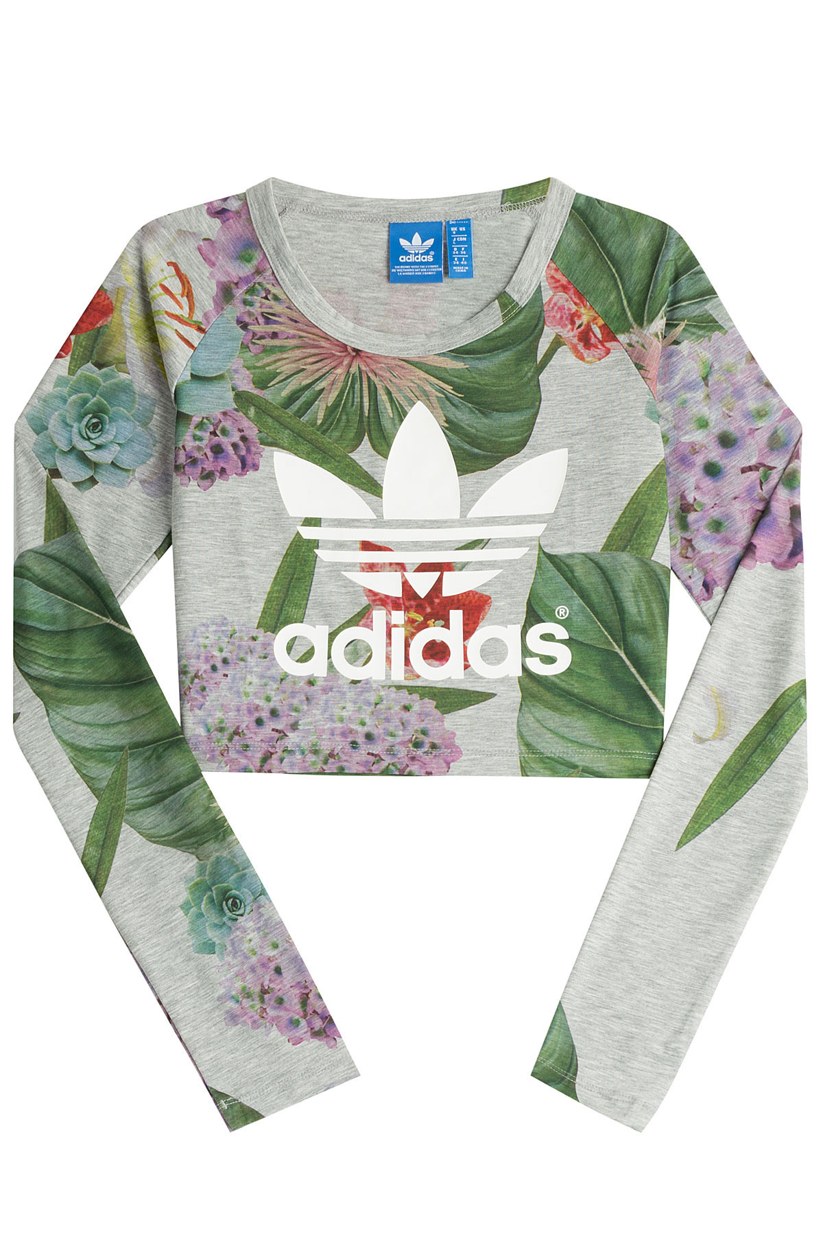 a104677e59a adidas Originals Floral Print Cropped T-shirt With Logo - Multicolor ...