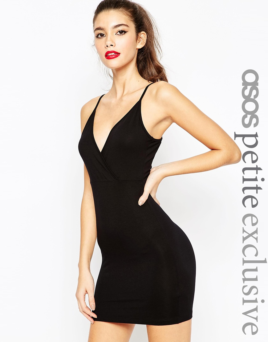 d676f9ad40a ASOS Petite Wrap Front Bodycon Dress With Strappy Back in Black - Lyst