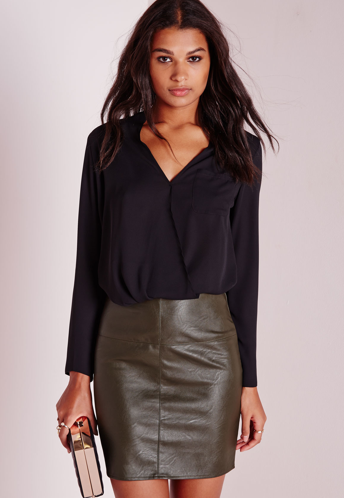 Missguided Faux Leather Mini Skirt Khaki in Natural | Lyst