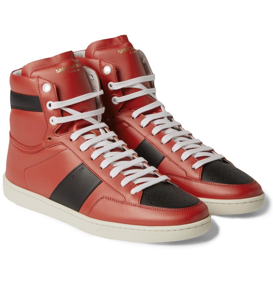 423fa1e2cbf9 Lyst - Saint Laurent Court Classic SL 01H Leather High Top Sneakers ...