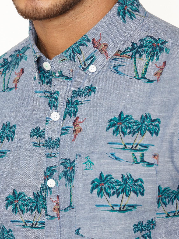 846605dc Original Penguin Tropical Print Short Sleeve Shirt in Blue for Men ...