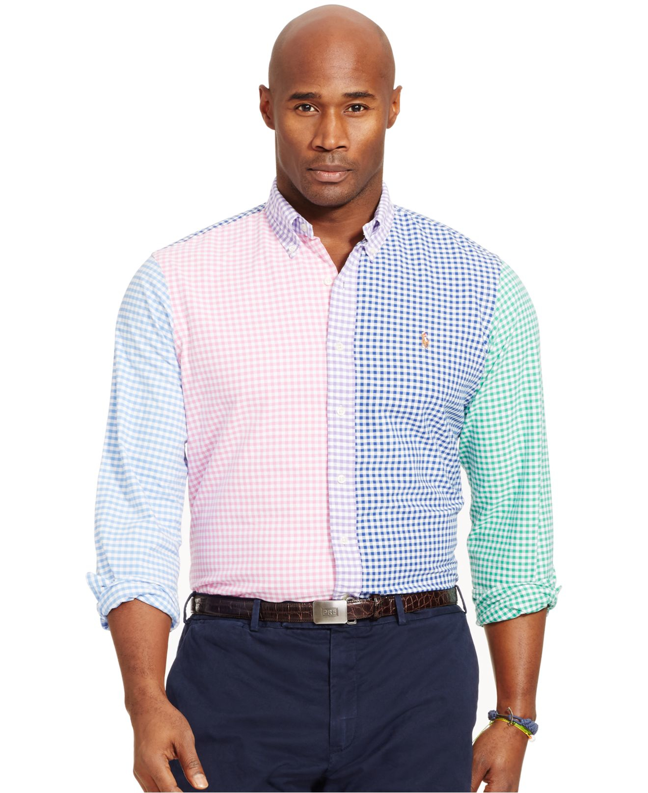 Lyst polo ralph lauren big and tall gingham oxford shirt for Big and tall oxford shirts