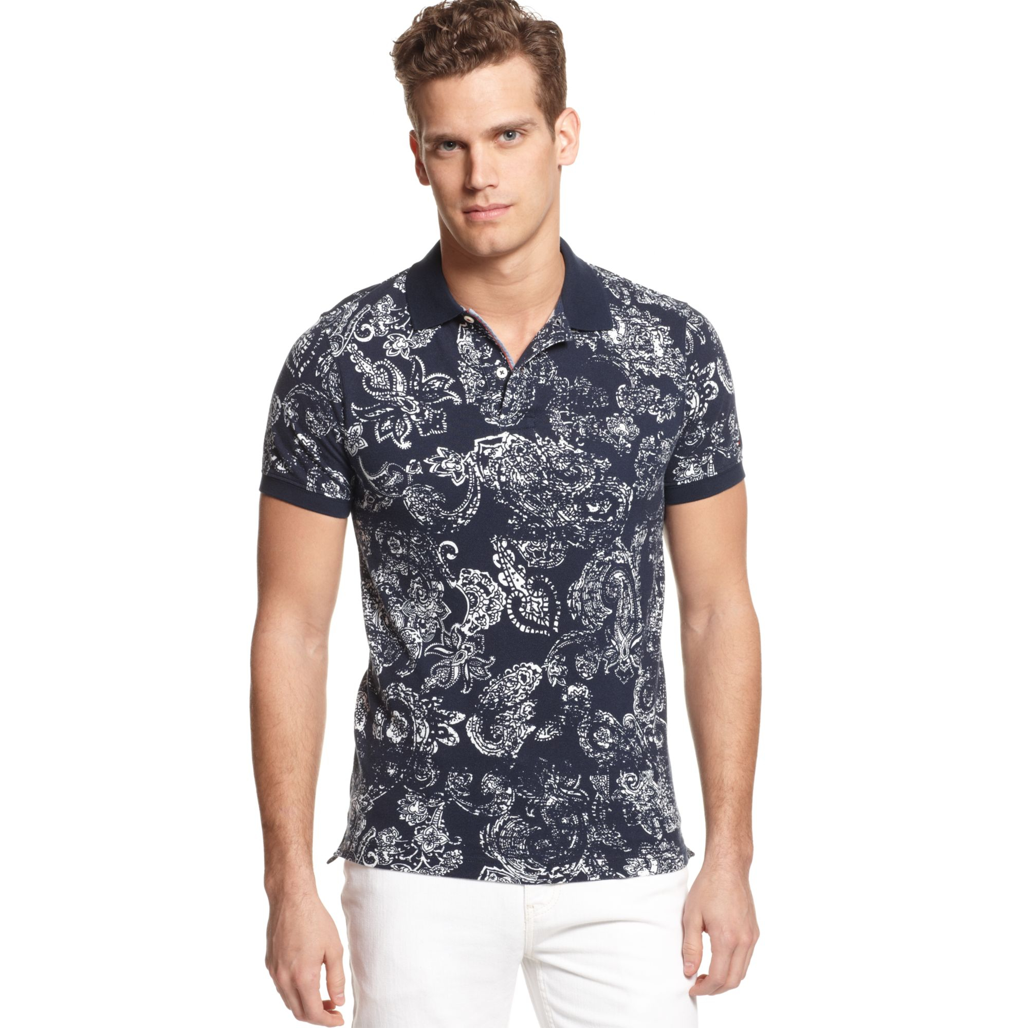 29fbc8aa Tommy Hilfiger Two Print Pattern Polo Shirt in Blue for Men - Lyst