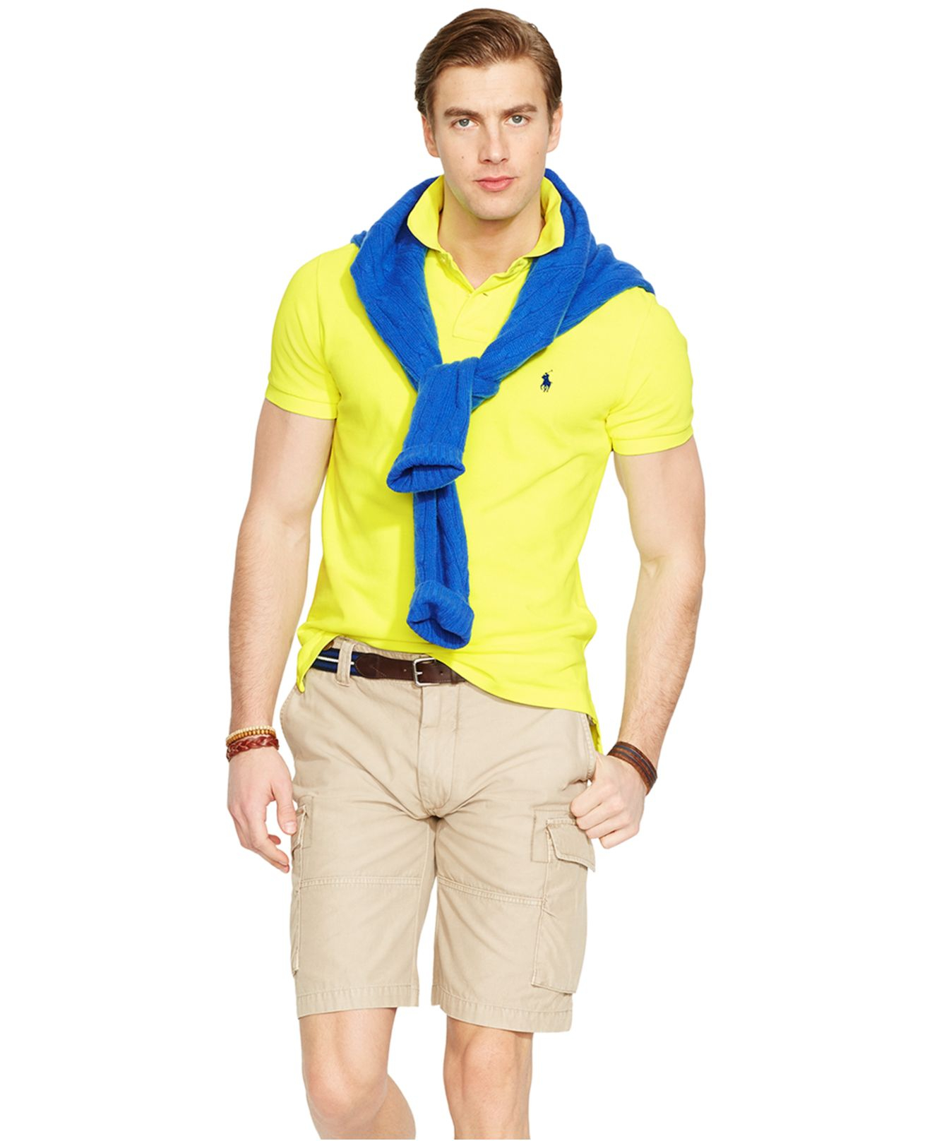 Polo ralph lauren Custom-fit Neon Mesh Polo Shirt in Yellow for Men (Safety