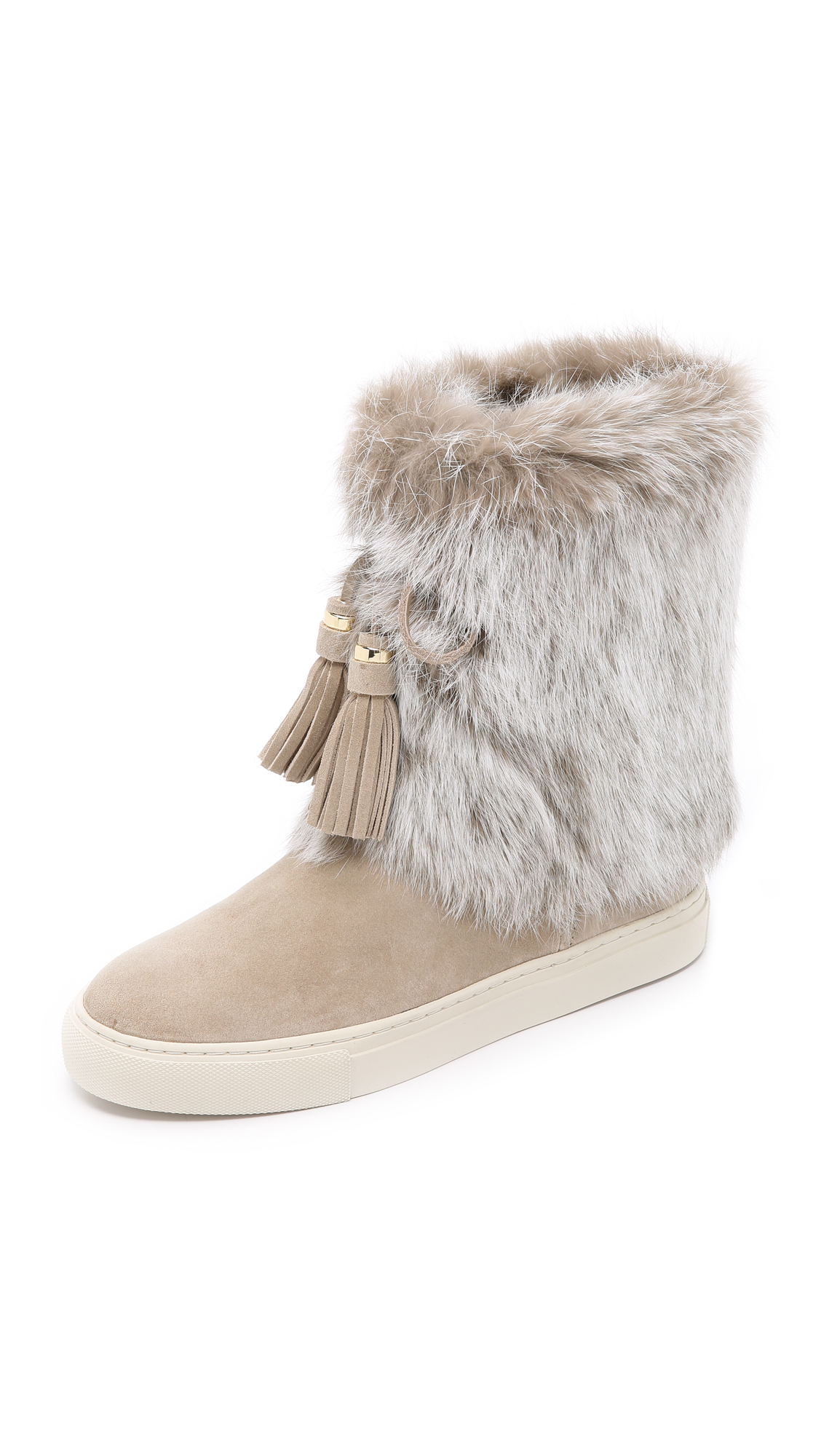 burch anjelica suede fur boots black black in beige