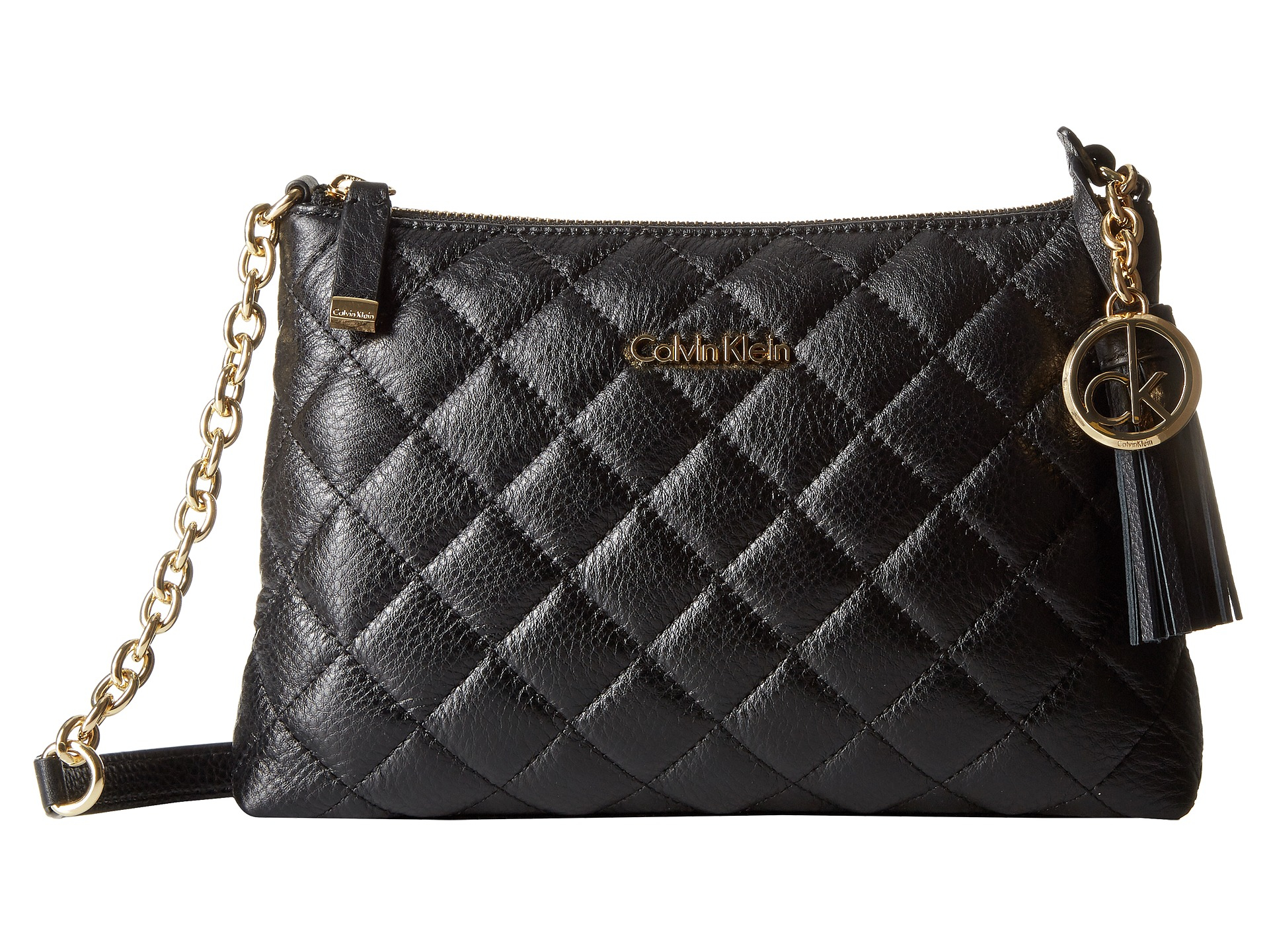 Lyst - Calvin klein Quilted Pebble Leather Tassel Crossbody in Black : calvin klein quilted leather crossbody bag - Adamdwight.com