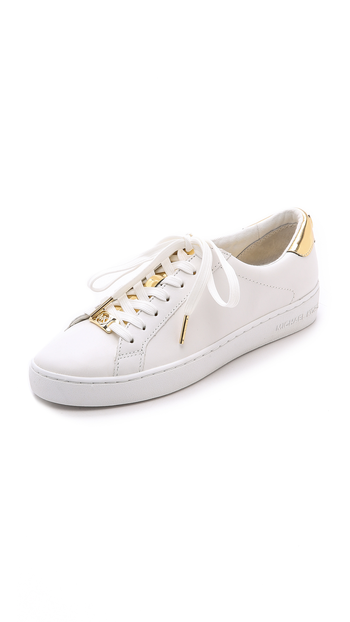 71997ade0 MICHAEL Michael Kors Irving Lace Up Sneakers - Optic/Pale Gold in ...