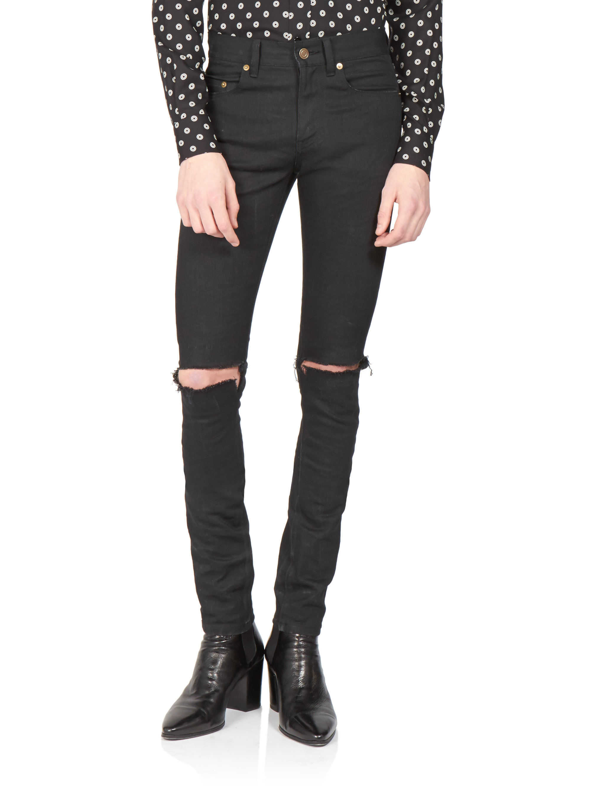 9090fa9a611 Saint Laurent Skinny Distressed Jeans in Black for Men - Lyst