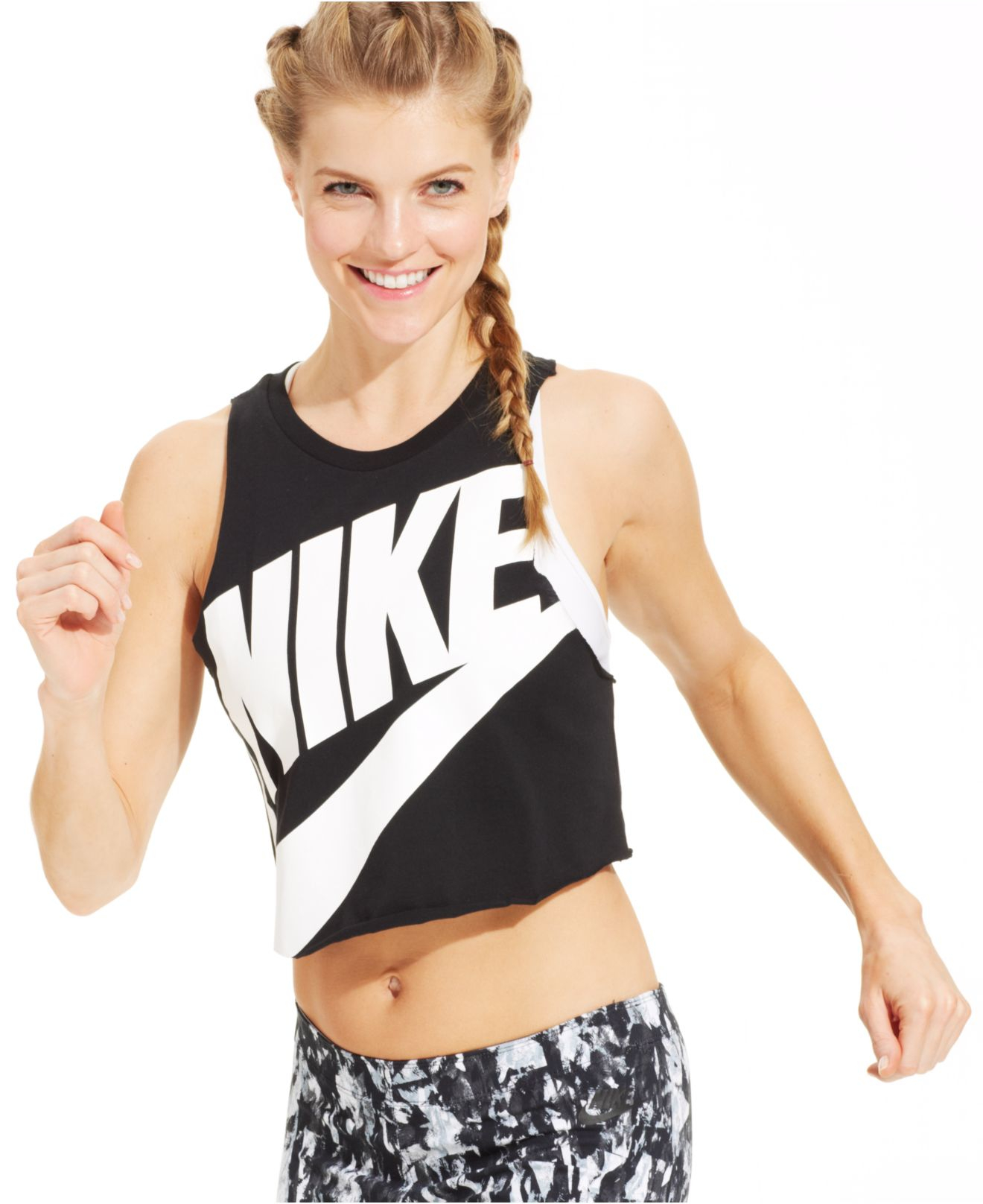 nike track field sleeveless crop top in black lyst. Black Bedroom Furniture Sets. Home Design Ideas