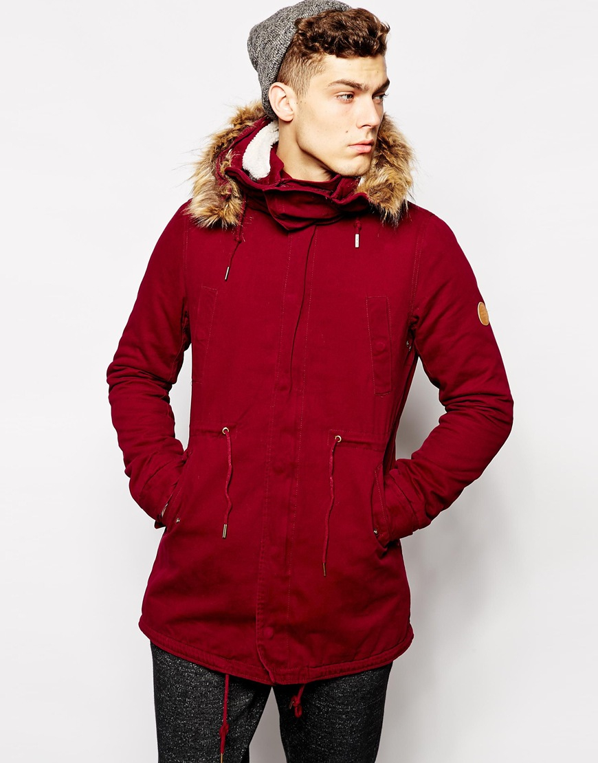 5844d3fbf Lyst - Native Youth Sherpa Lined Washed Parka in Red for Men
