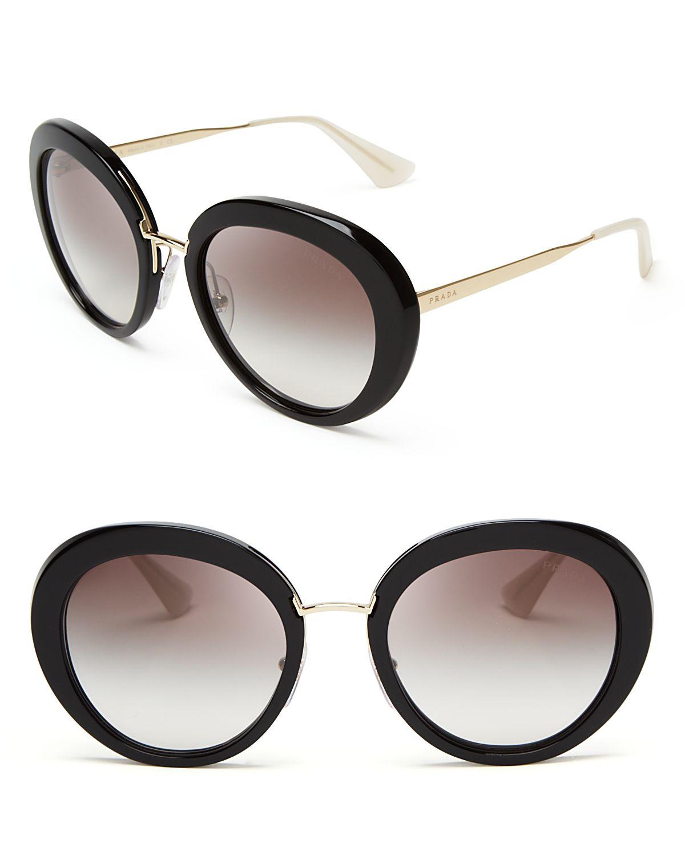 9c2eabab6ea7 ... sweden lyst prada round oversized sunglasses in black 395ed 764f0