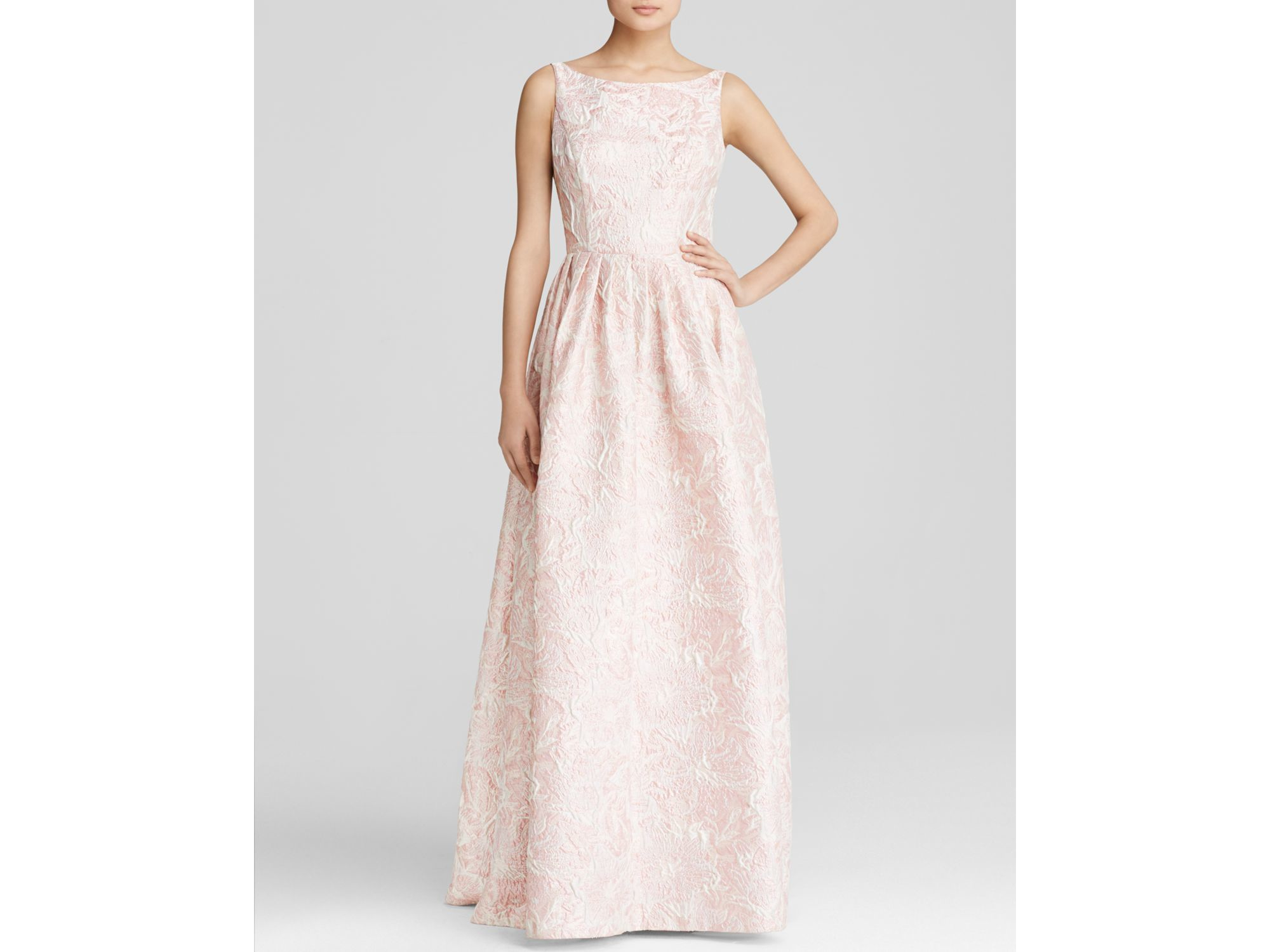 Lyst - Adrianna Papell Gown - Sleeveless High Neck Floral Brocade ...