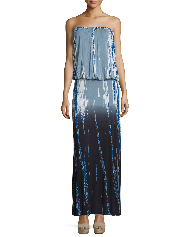 35a31c6d00c Lyst - Young Fabulous   Broke Sydney Strapless Ombre Tie-dye Maxi ...