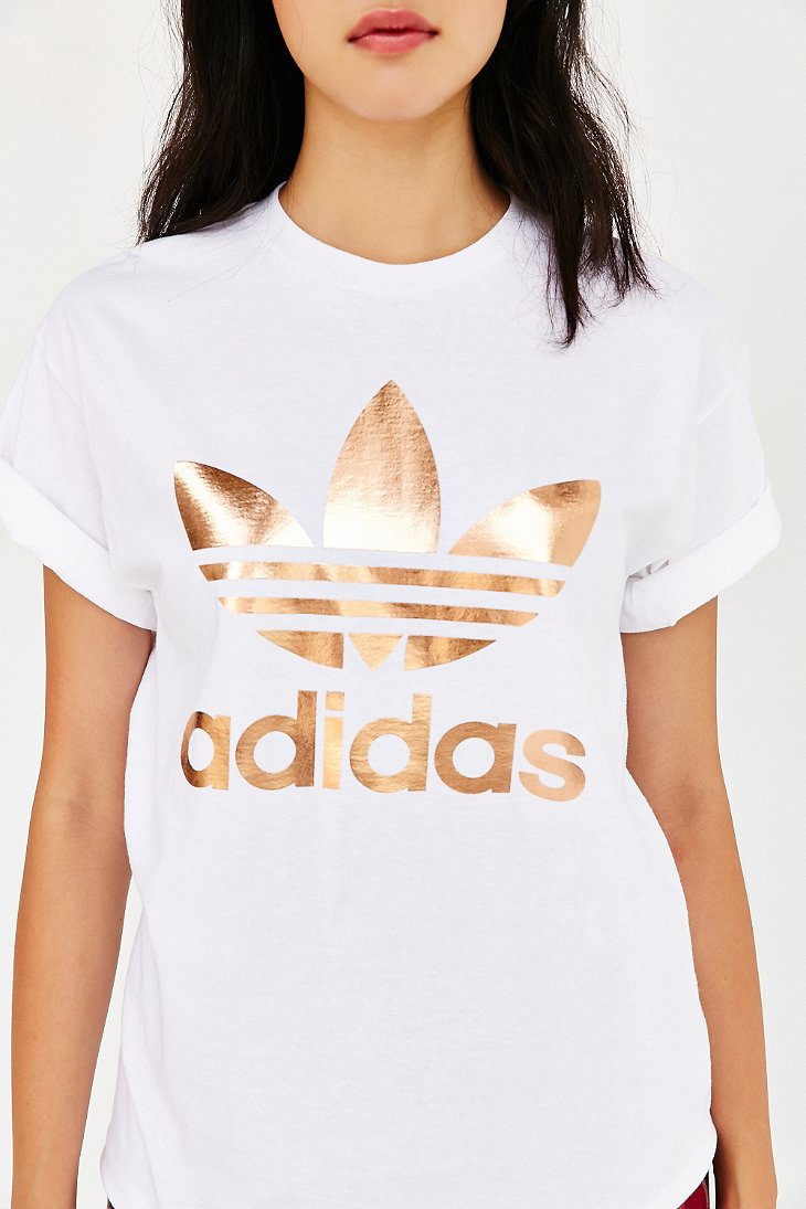 adidas originals originals metallic logo t shirt in white lyst. Black Bedroom Furniture Sets. Home Design Ideas