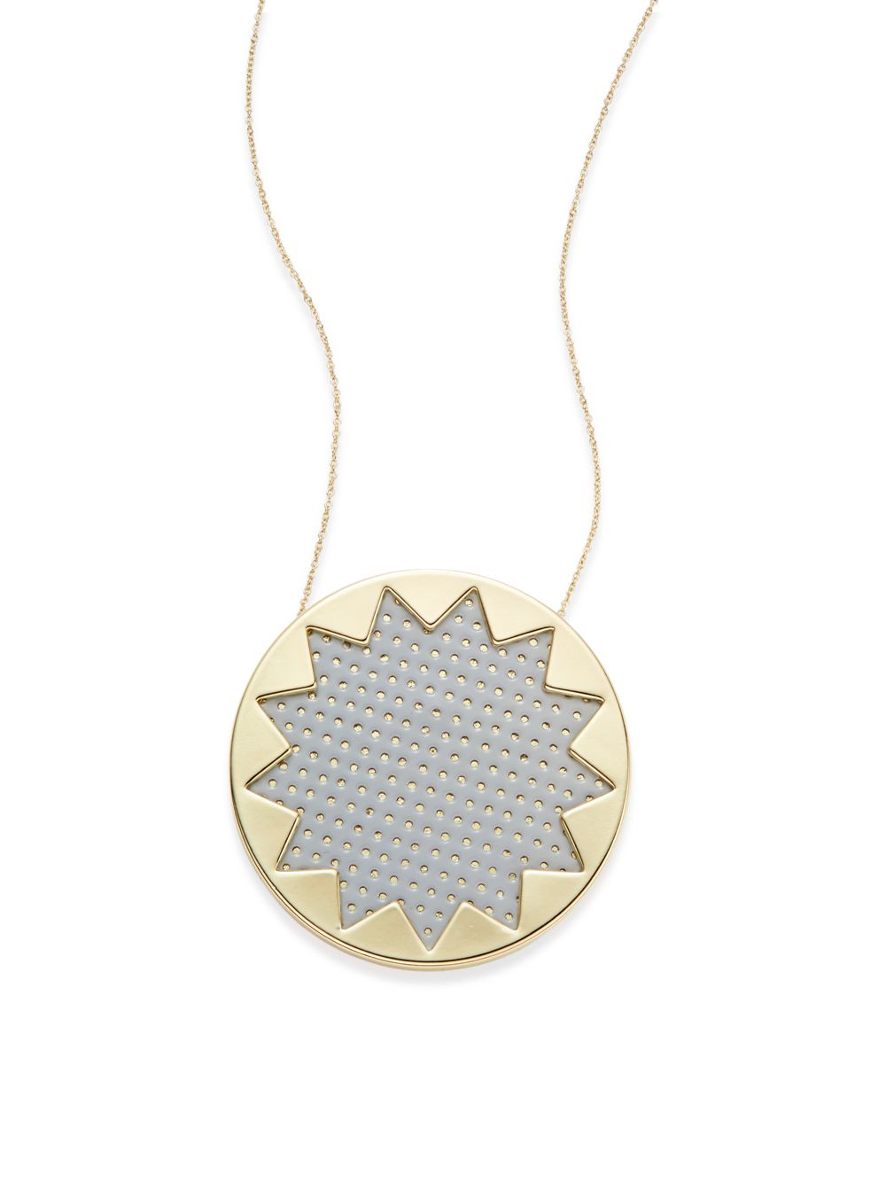 Lyst house of harlow 1960 grey patent leather sunburst pendant gallery mozeypictures Choice Image