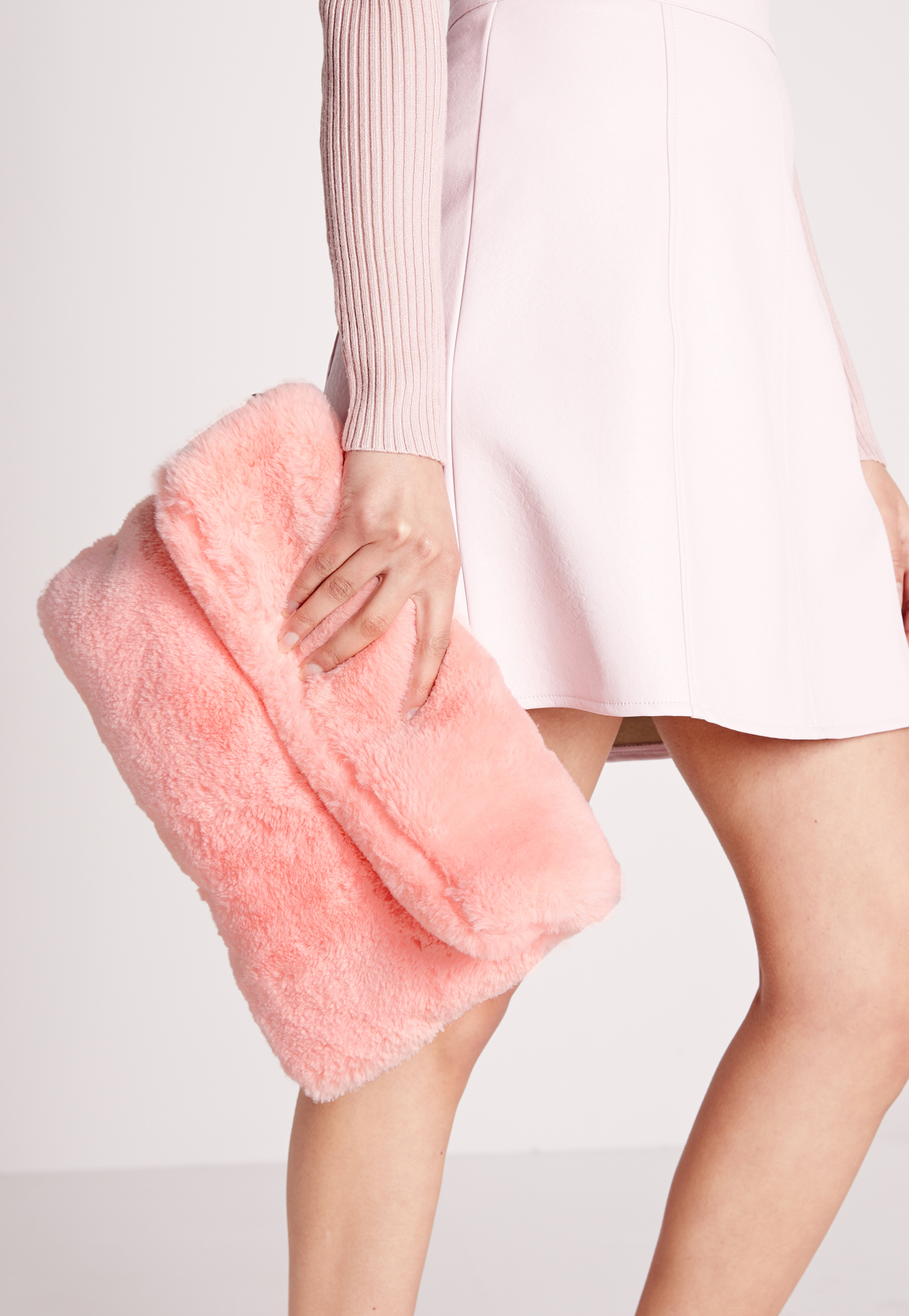 26bfb99a85 Lyst - Missguided Fold Over Fur Clutch Bag Pink in Pink
