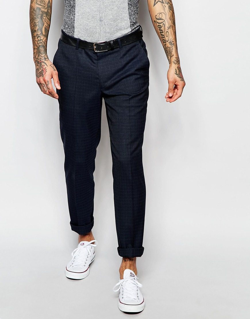 Asos Skinny Suit Pants In Subtle Check In Navy in Blue for Men | Lyst