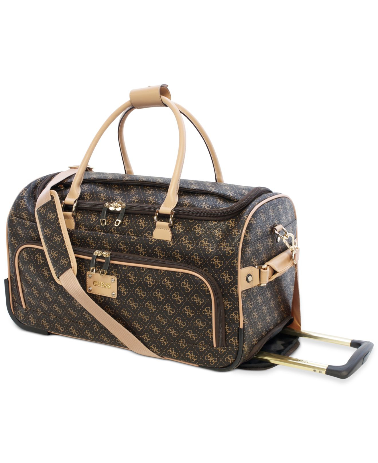 Lyst - Guess Logo Affair Dlx Rolling Duffel in Brown for Men 94707703b727f