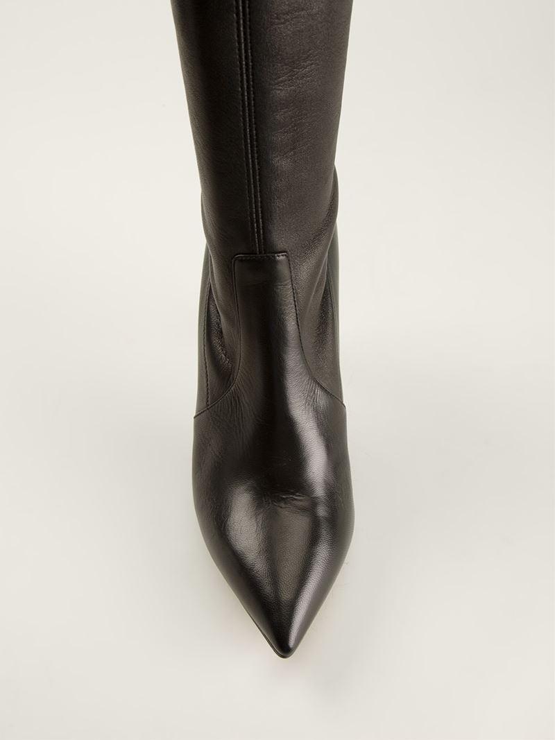 390f808b5bb Lyst - Casadei Knee High Stiletto Boots in Black