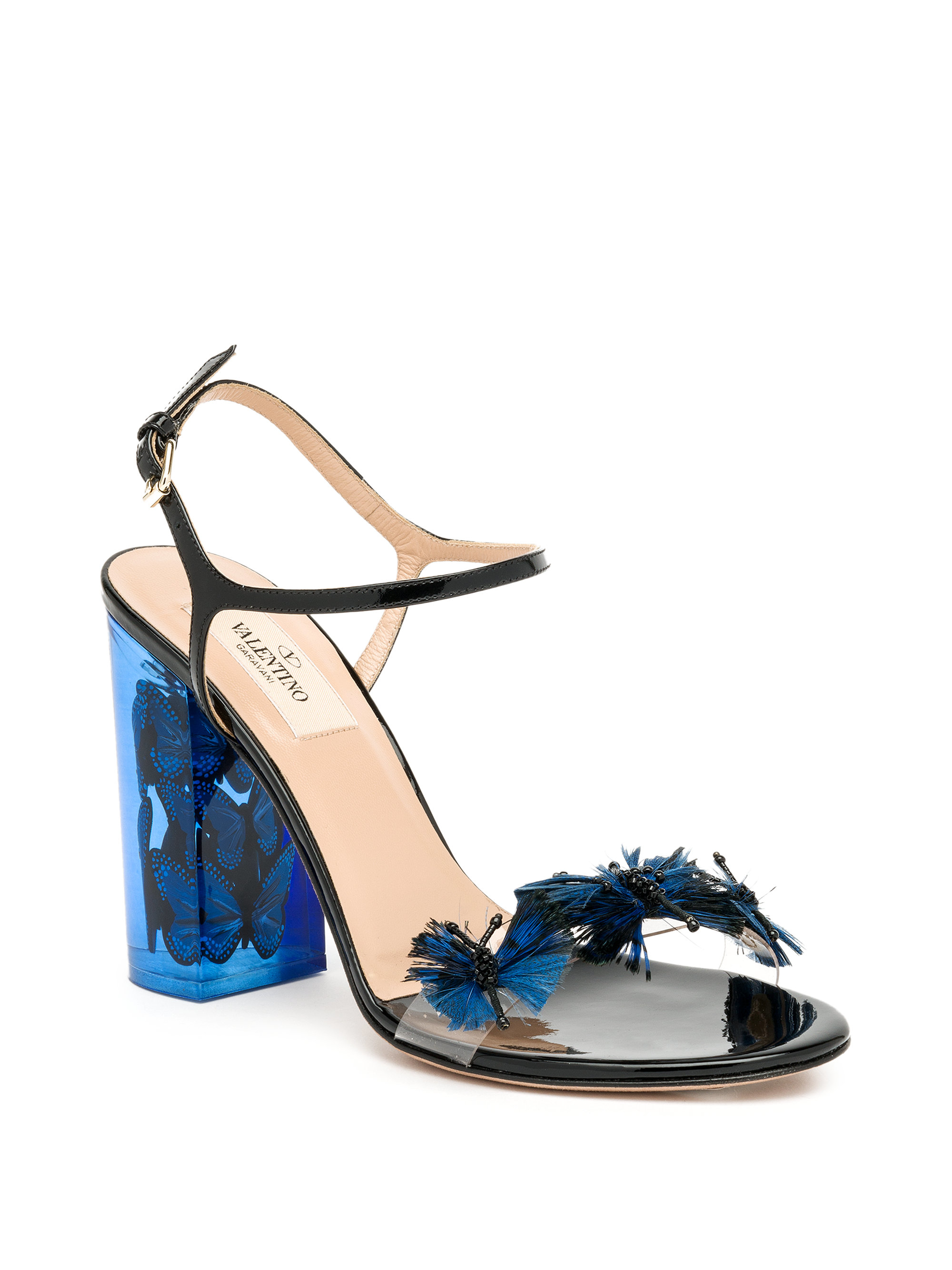 55f7cdf146e Lyst - Valentino Butterfly Lucite-heel Sandals in Blue