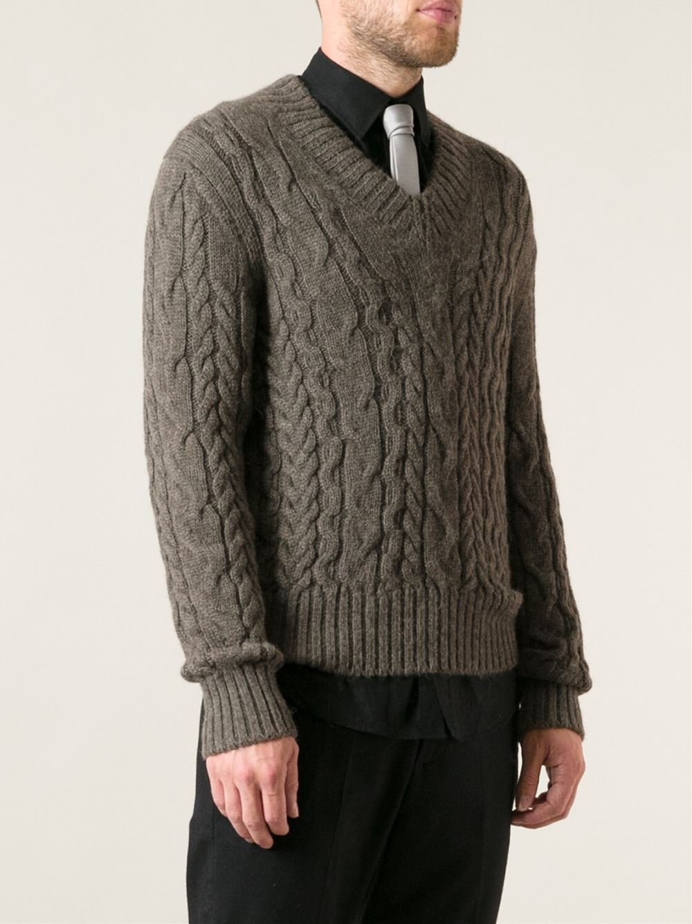 tom ford cable knit sweater in brown for men lyst. Black Bedroom Furniture Sets. Home Design Ideas