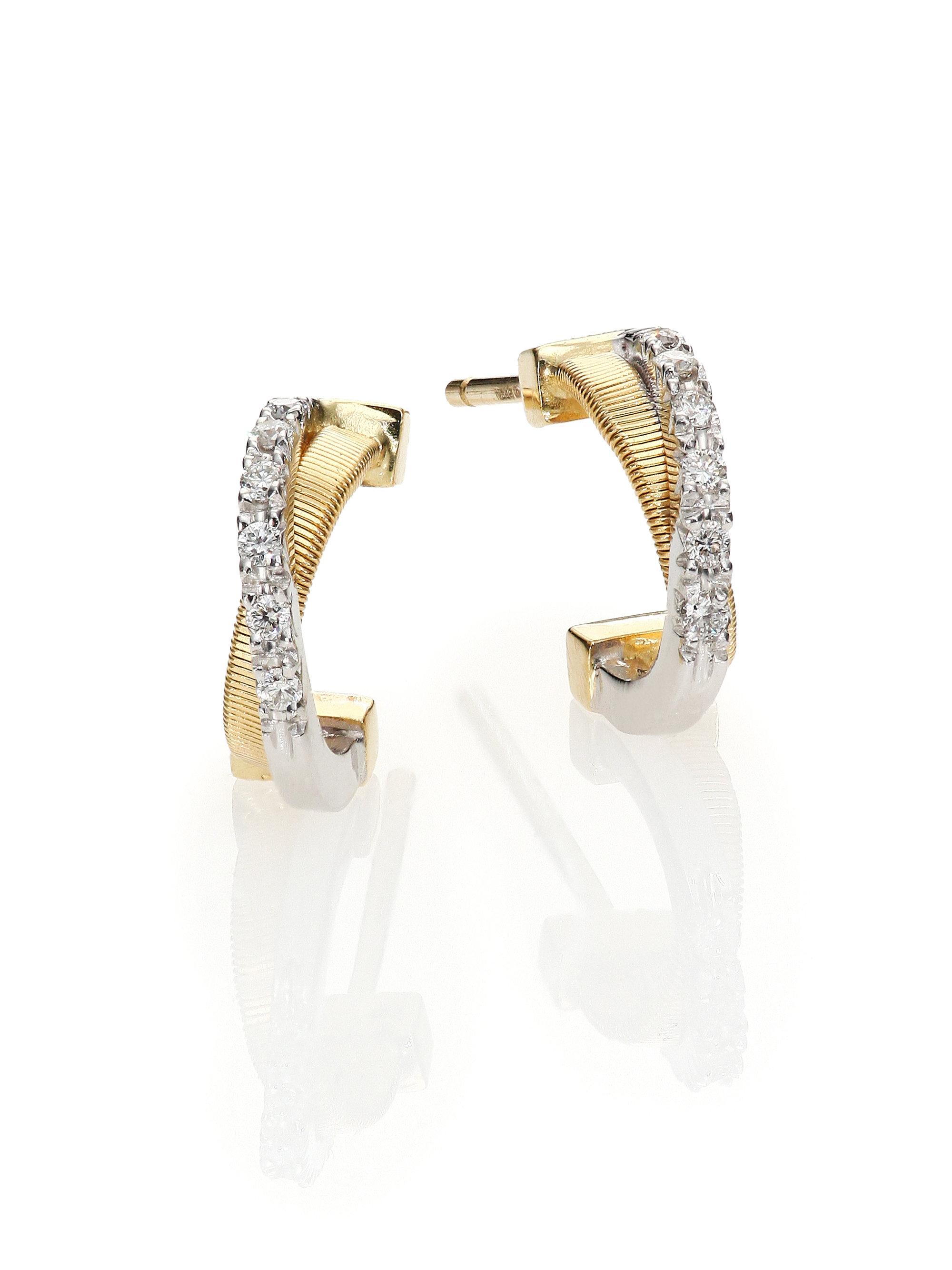 Yellow Gold Huggie Hoop Earrings Doubleaccent 14k Gold Huggie