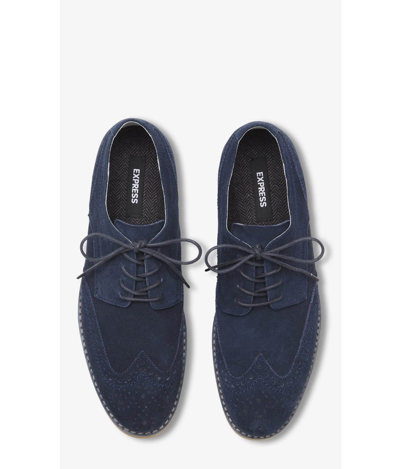 fd491b9baae3a Express Navy Suede Wingtip Oxford in Blue for Men - Lyst