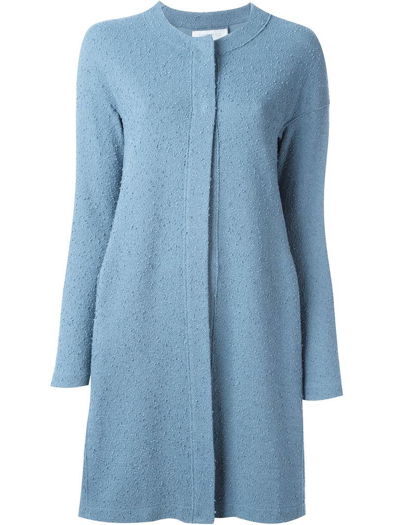 harris wharf london single breasted midi coat in blue lyst. Black Bedroom Furniture Sets. Home Design Ideas