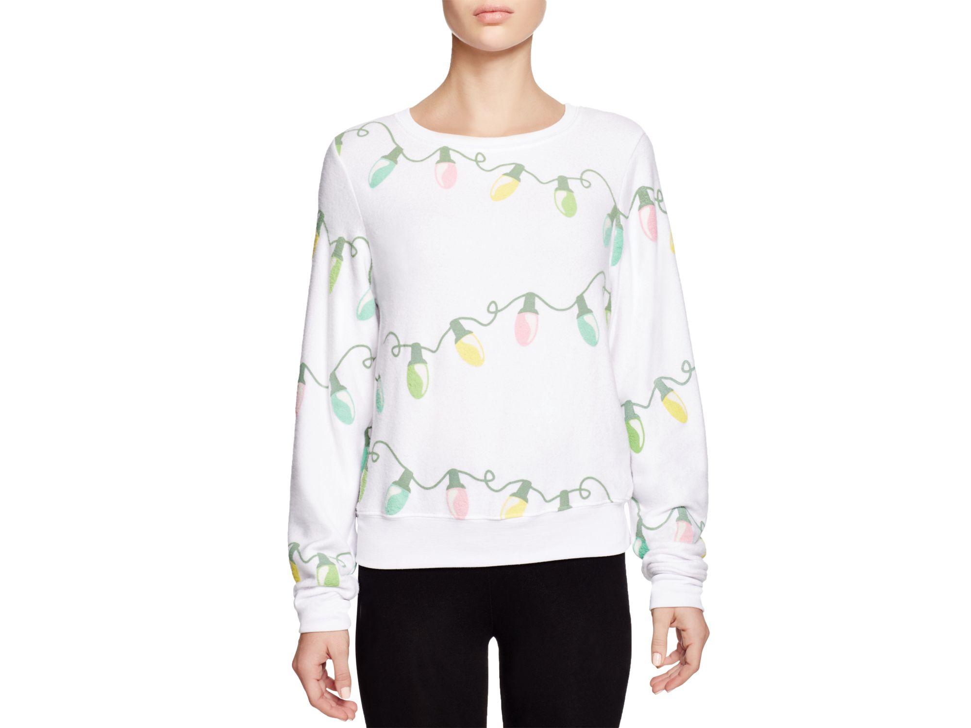 Wildfox Glowing Lights Sweatshirt in White | Lyst