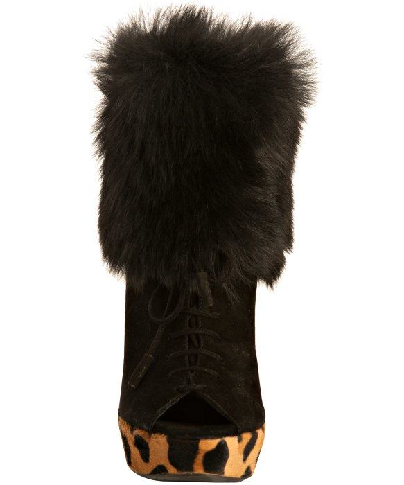 Prada Suede Fur Cuff Mid Calf Boot Deserto: Prada Black Suede And Calf Hair Peep Toe Fur